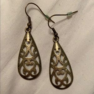 Antique gold plated, filigree drop earrings